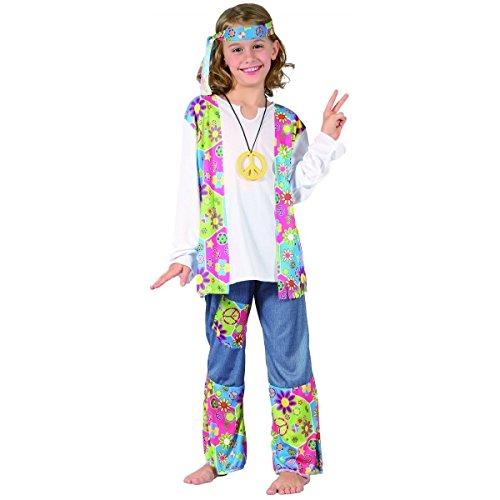 Costume hippy figlia dei fiori da bambina 10/12 anni (140/152)