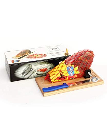 Mini-Serranoschinken im Geschenkkarton mit Schinkenständer und Messer