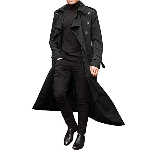 Loozykit Herren Trenchcoat Lang Slim Fit Zweireihiger Mantel im Militärischen Stil Windbreaker Trench Coat Jacke mit Reverskragen Wintermantel Classic Regular Fit Business Freizeit (L, Schwarz)
