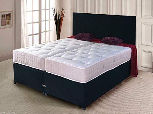 sleepkings 5ft (2x2ft6) Kingsize Zip And Link Chenille Divan Beds Bedroom Set Hotel Beds Tufted Ortho Mattress + Headboards Black Charcoal Steel Cream (Steel Grey)