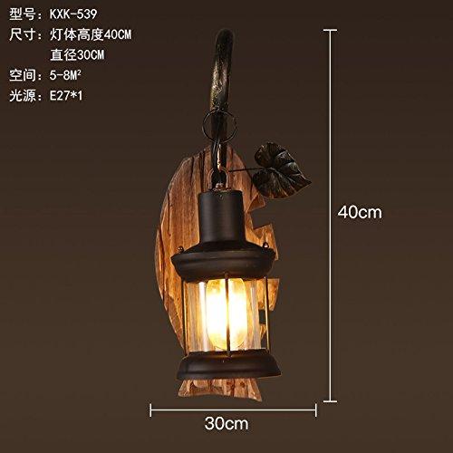 YU-K Retro vent industrielle diffuse en verre café restaurant chambre lit en bois massif, 1 appliques art