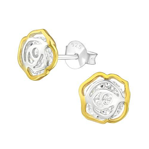 Laimons Pendientes para mujer con diseño de flor rosa brillante, chapado en oro, circonita, plata de ley 925