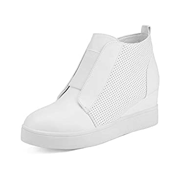 DREAM PAIRS Women s Platform Wedge Sneakers Ankle Booties White Size 7.5 M Us Wedge-Snkr-1