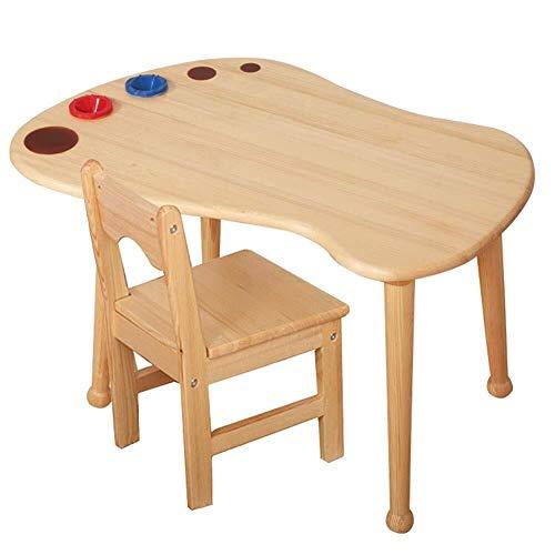 Children's studie bureau Child tafel en stoelen for peuters, kind Planken activiteit speeltafel, tekentafel, stevige Hardhout Seat, Natuurlijke Finish Children's studie tafel en stoel set