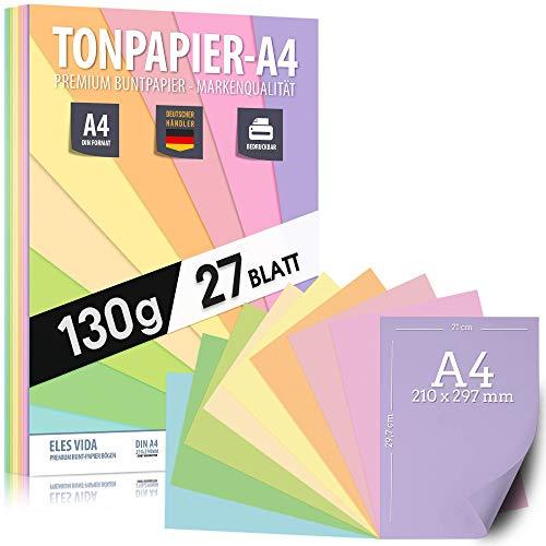 27 Blatt Pastell Tonzeichenpapier DIN A4 – 130 g - 9 Farben – Festes Papier - Farbige Pastel Blätter für Schule, Hobby - Kinder & DIY Bögen, Bastel Zubehör - Geschenke, Buntpapier Pastellfarben