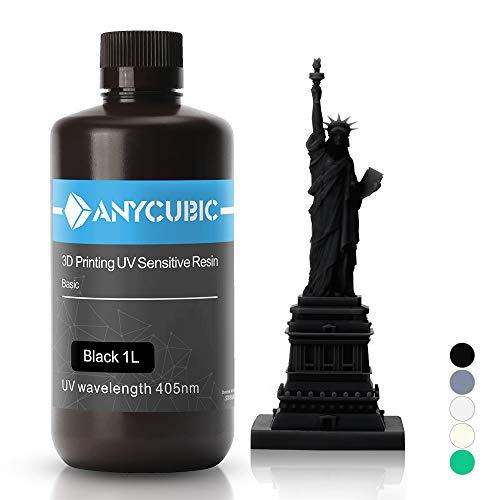ANYCUBIC 3D Drucker UV Resin 405nm schnellhärtendes Photopolymer für den Photon/S flüssiges 3D Resin hochpräzise für LCD/DLP/SLA 3D Drucker, 1L Schwarz