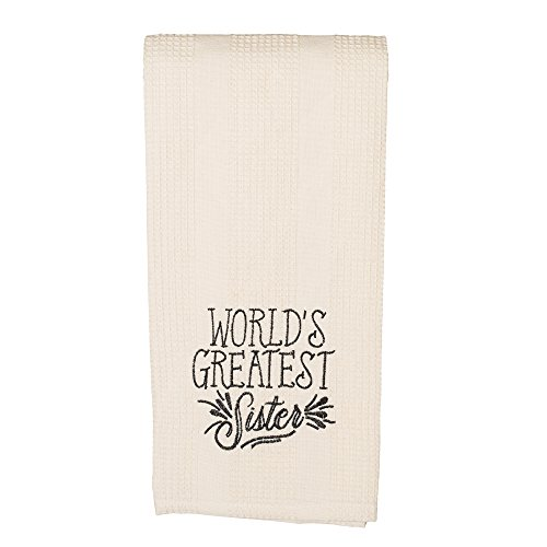 World's Greatest Sister 19 x 28 All Cotton Embroidered Waffle Kitchen Towel