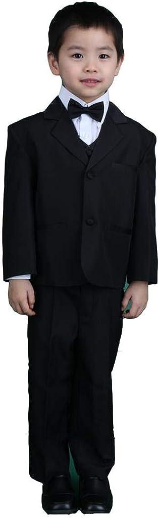 Pink Promise Boy Black 5-Piece Formal Dress Suit Tuxedo Set with Bow