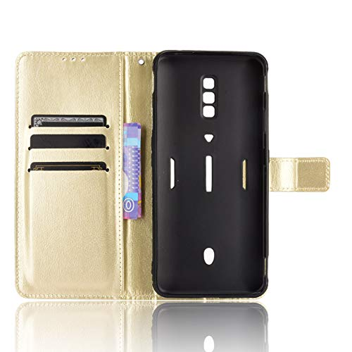 MingMing Lederhülle für ZTE Nubia Red Magic 6 Pro Hülle, Tasche Cover Etui Handyhülle für ZTE Nubia Red Magic 6 Pro, Golden