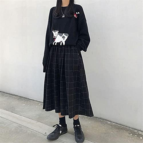 YLDCN Faldas para Mujeres Falda Midi De Mujer De Cintura Alta A Cuadros Faldas Largas Plisadas De Streetwear para Mujer-Black_One_Size