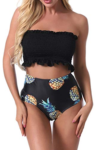 Womens High Waisted Bikini Swimsuit Two Piece Swimwear Bandeau Strapless Smocked Bathing Suit Top(Pineapple,XXL)