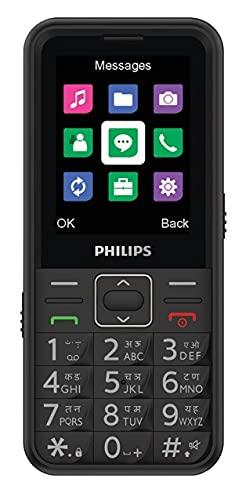 Philips Xenium E209 Premium Multimedia Feature Keypad Mobile Basic Bar Phone with Dual SIM Card, Vivid Display, Rear Camara, Dual LED Torch, Music Player, FM, Bluetooth, SOS Enabled (Black, 2.4 inch)