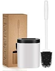 Toiletborstel, diepe reiniger, siliconen toiletborstels met anti-slip lange kunststof handvat en flexibele borstels, siliconen toiletborstel met sneldrogende houder set voor badkamer toilet
