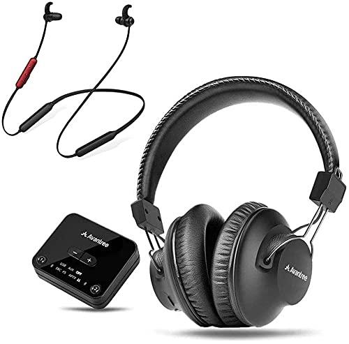 Avantree D4169 Auriculares Bluetooth 5.0 Inalámbricos sobre Oreja e internos para Ver TV con transmisor Baja latencia,con Banda Cuello,Control Volumen Personalizado,Enchufe y juegue,sin retardo Audio