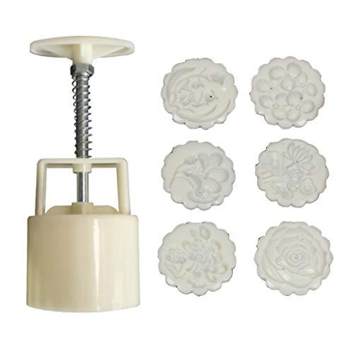 luosh Moon Kuchenformpresse Mit 6 Stempeln, 50 g Ausstecher DIY Kuchen Dekorationswerkzeug Handdruckkeks für Küchenhelfer