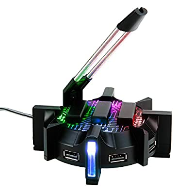 ENHANCE Pro Gaming Mouse Bungee Cable Holder with 4 Port USB Hub - 7 LED Color Modes with RGB Lighting - Wire & Cord Management Support for Improved Accuracy, Stabilized Design for Esports