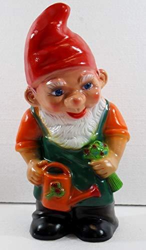 RAKSO Deko Figur Zwerg H 28 cm Gartenzwerg stehend mit Gießkanne Gartenfigur aus Kunststoff