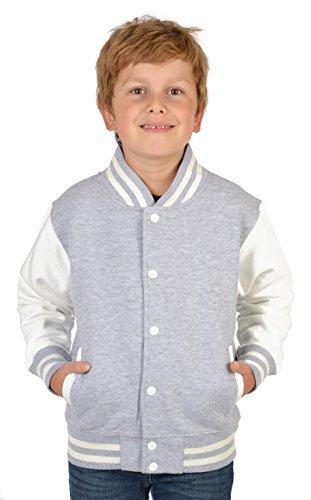 SH-Topshop - Stefan Hohenwarter Coole College Jacke für Jungs mit Rückenmotiv - schwarzer Panther - Sweat Jacke - Farbe: grau