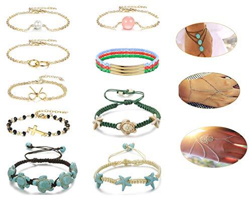CASSIECA 12 PCS Bohemian Bracelet for Women Girls Finger Ring Bracelets Pearl Stone Beaded Knot Circle Hamsa Turquoise Hand Chain Tassel Sea Starfish Turtle Bracelet Anklet Friendship Set Adjustable