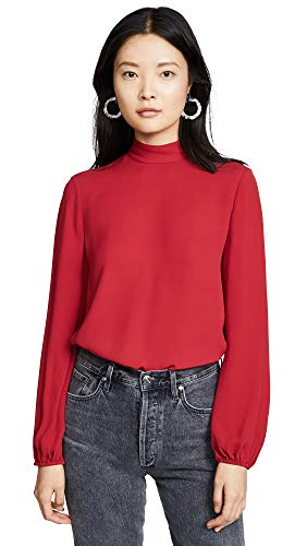 Theory Women's Mock Neck Top, Crimson, Red, Small