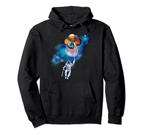 Astronaut Planet Balloons Space Adventure Pullover Hoodie