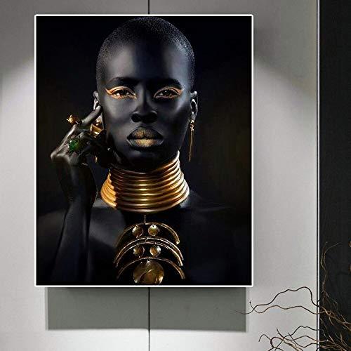 wZUN Mujeres Negras Collar Collar joyería Arte de la Pared Lienzo Pintura en la Pared Impresiones de Arte Africano decoración de la Pared 60x80 Sin Marco