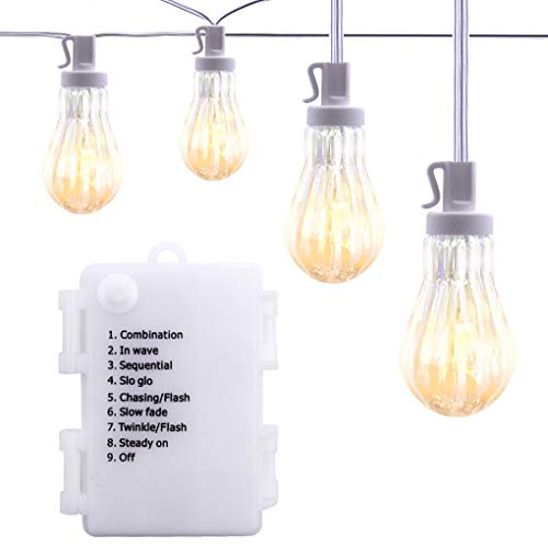 ASENEK LED String Lights - 15 LED Outdoor String Lights, 15.58ft Battery Operated String Lights Waterproof Hanging Patio Lights for Patio, Backyard, Garden (Warm White)