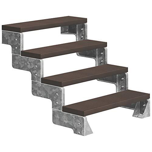 DOLLE Außentreppe Gardentop mit 4 Stufen   Geschosshöhe 72-88 cm │ Trimax® Stufenauflage Dunkelbraun │ 80 cm   ohne Geländer