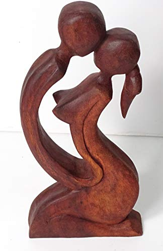 Madera Figura Enamorados, 30 cm de Altura sobre una Base de 12 cm X 3,5 cm