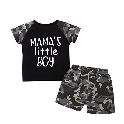 YQYJA Ropa de bebé niño conjuntos verano carta impresión manga corta Tops pantalones cortos casual 2pcs trajes