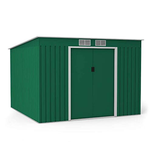 BillyOh 9x8 Cargo Galvanised Steel Metal Shed Storage, Outdoor Garden Storage Shed, Large Metal Shed, Double Door Pent Style Roof, Ideal for Tool Storage, Bike Shelter, with Foundation Kit -Dark Green