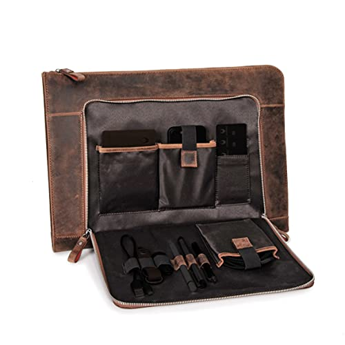 Custodia per notebook da 15,6 pollici DONBOLSO® London |Cartella in vero cuoio per uomini e donne marrone