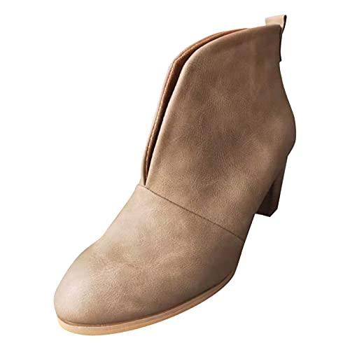 Stivaletti da donna Stacked Heel Booties Fahsion Stivali corti da donna con tacco basso, alla moda, cachi, 40 EU