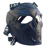 FOJMAI Máscara de paintball Airsoft con diseño de calavera para fiestas de Halloween, caza, pistola, disparo, cara completa, lentes transparentes para adultos