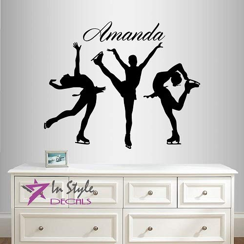 Wall Vinyl Decal Home Decor Art Sticker Figure Skating Girls Customized Name Ice Skating Woman Sports Room Removable Stylish Mural Unique Design 2051