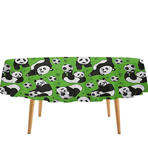 prunushome Soccer Tablecovers Funny Panda Animals Playing with Balls Hand Drawn Style Hearts and Stars for Dining Table, Buffet Parties and Camping Lime Green Black White (60' Round)