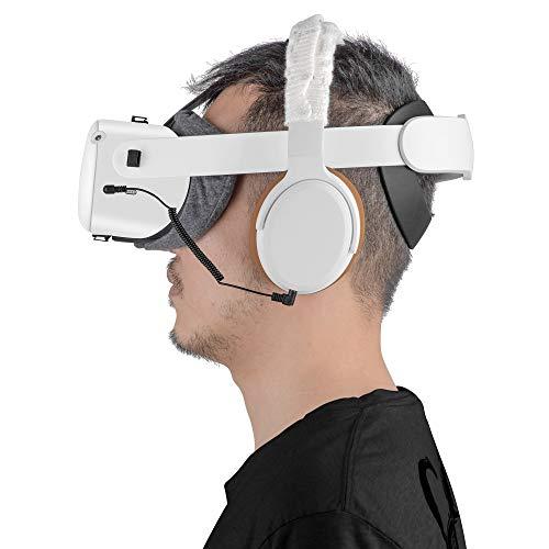 Cuffie stereo per basso VR su misura per Oculus Quest 2 e Oculus Rift S - Cavo elastico corto confortevole Pad e copertura