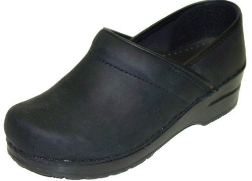 Dansko Women's Narrow Pro Black Oiled Leatherclogs-and-Mules-Shoes 40 2A(N) US