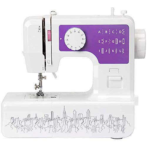 Mini Electric Sewing Machine portable, Household Multi-Function Crafting Mending Sewing Machines for Adult Beginners (12 Stitches, 2 Speeds, Foot Pedal, LED Sewing Light) , Purple (purple)