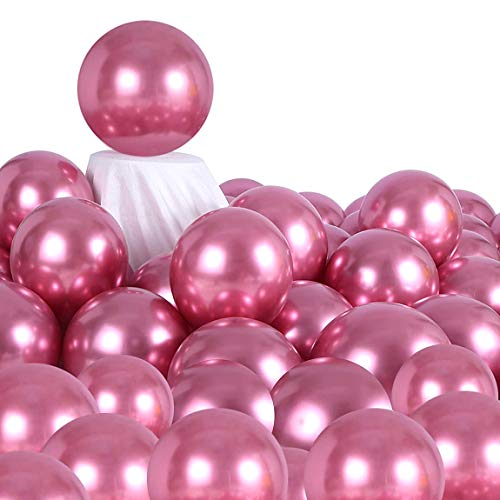 AULE Hot Pink Metallic Chrome Latex Balloons 12 Inch 50 Pcs Birthday Baby Showers Bridal Shower Weddings Bachelorette Party Decorations