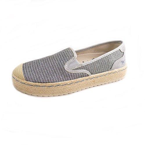 MUSTANG Shoes Damen Schuhe Espadrilles Halbschuhe Slipper Silber (EU 37)