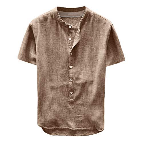 Fenverk Leinenhemd Herren Regular Fit Button-down Sommerhemd Langarm & Kurzarm Herren Hemd Shirt Freizeithemd Herren(B#Khaki,M)