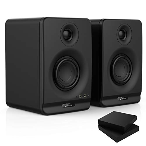 Donner Studio Monitors 3' Near Field Studio Monitors with Professional CSR 5.0 Bluetooth, 2-Pack Including Studio Monitor Isolation Pads (Dyna3 Black)