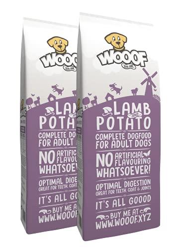 WOOOF Lamm und Kartoffel 36kg kaltgepresstes, getreidefreies Hundefutter | Purinarmes Trockenfutter Weizenglutenfrei, hoher Fleischanteil