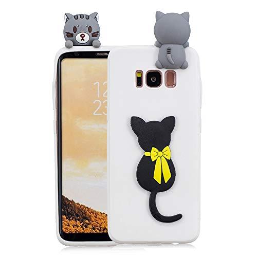 HopMore Handy Hülle für Samsung Galaxy S8 Hülle Silikon Muster 3D Handyhülle für Samsung S8 Ultra Dünn Bumper Design Slim Schutzhülle One Piece Case Cover - Katze