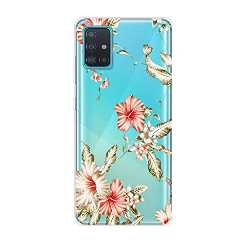 Uposao Funda para Samsung Galaxy A71 Carcasa Transparente Dibujos Belleza Cool Lindo Motivo Silicona Gel TPU Suave Ultra Delgado Híbrido Case Bumper Antichoque Protector Galaxy A71,Flor Palma #2