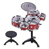CHENTAOMAYAN Los niños Jazz Drum Kit Determinado del Instrumento Musical del Juguete Educativo Tambores 5 + 1 for platillos con los Palillos de Tambor pequeño Taburete (Color : Red)