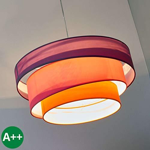 Preisvergleich Produktbild LINDBY Pendelleuchte 'Melia' dimmbar (Modern) aus Textil u.a. für Wohnzimmer & Esszimmer (3 flammig,  E27,  A++) - Hängeleuchte,  Esstischlampe,  Hängelampe,  Hängeleuchte