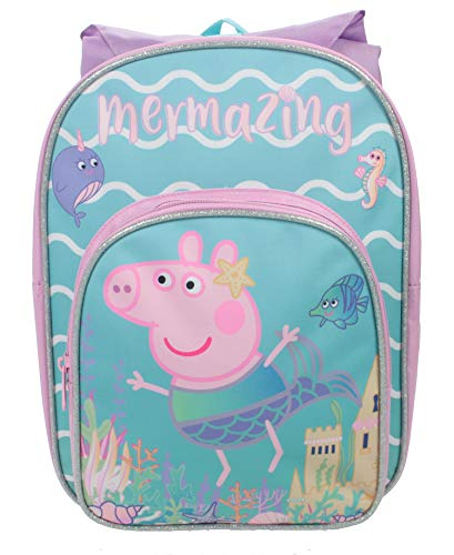Peppa Pig Mel Arch with Hood Kids Backpack, Girls Pink Canvas Rucksack, Perfect Children School Bag, Nursery Or Preschool Bag, Kids Toddlers Holiday Travel Bag