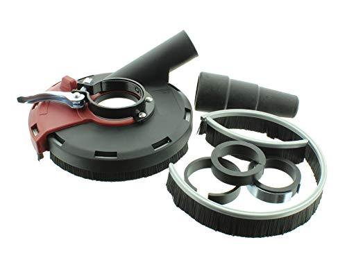 BTEC Absaughaube mit Bürstenkranz für 115mm und 125mm Winkelschleifer Staubabsaugung für staubarmes arbeiten mit Adapterstück und Staubsauger Anschluss